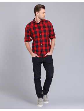 Bright Red & Black Check Slim Fit Shirt