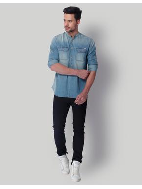 Blue Mandarin Collar Denim Shirt