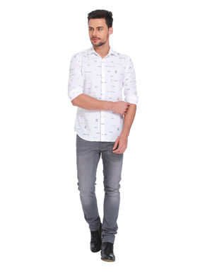 White All Over Text Print Shirt