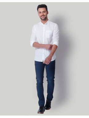 White Mandarin Collar Slim Fit Shirt