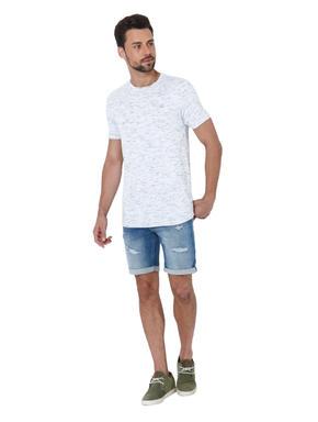 White Self Design Crew Neck T-Shirt