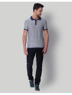 Grey & Blue Polo Neck T-Shirt