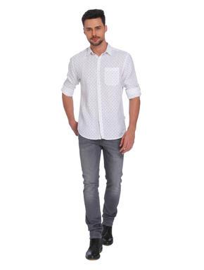 White All Over Print Linen Shirt