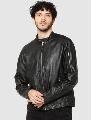 Black Leather Zip Detail Jacket