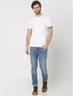 White Motif Printed Crew Neck T-Shirt
