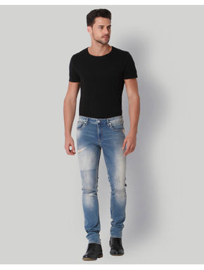 Light Blue Distressed Low Rise Slim Fit Jeans