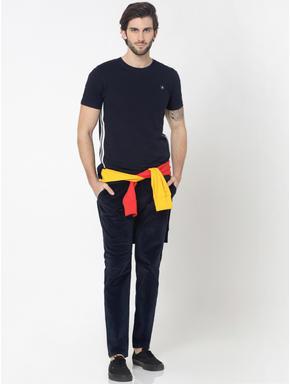 Dark Blue Mid Rise Slim Fit Corduroy Pants