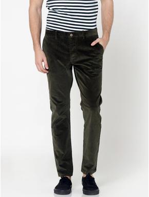 Green Mid Rise Slim Fit Corduroy Pants