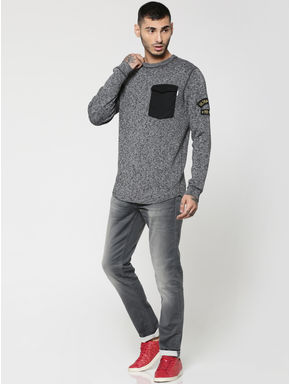 Grey Front Pocket Textured Crew Neck Sweater