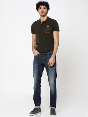 Olive Green Patch Pocket Polo T-Shirt