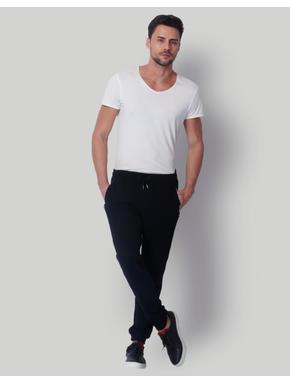Black Mid Rise Slim Fit Sweatpants