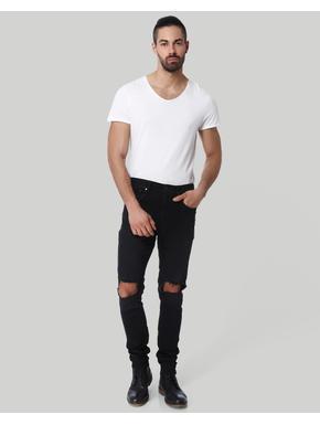 Black Super Distressed Low Rise Skinny Fit Jeans