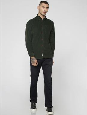 Olive Green One Pocket Corduroy Full Sleeves Shirt