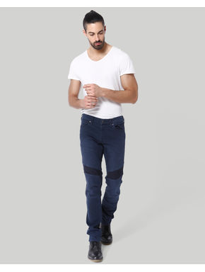 Dark BlueLow Rise Slim Fit Biker Jeans