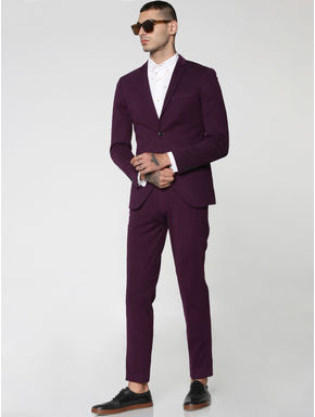 Purple Double Button Slim Fit Blazer