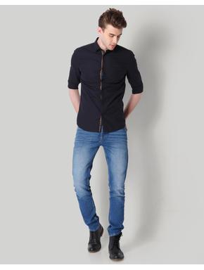 Black Contrast Piping Detail Shirt