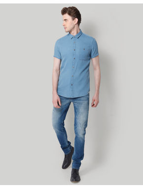 Blue Denim Regular Fit Shirt