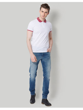 White Dotted Polo T-Shirt