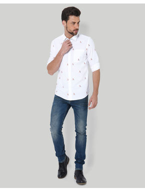White Sailboat Print Shirt