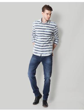 Beige & Grey Striped Shirt