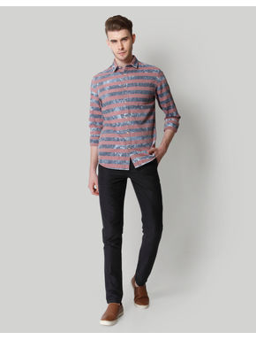 Blue & Grey Striped Shirt
