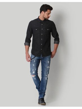 Dark Grey Denim Shirt