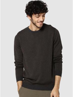 Dark Grey Striped Jacquard Pullover
