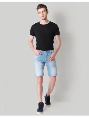 Blue Mid Rise Slim Fit Denim Shorts