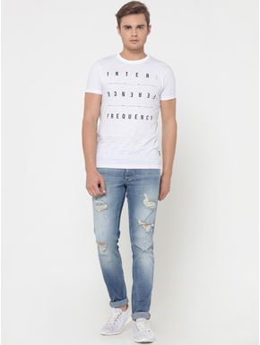 White Striped Text Print Crew Neck T-Shirt