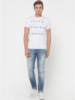White Striped Text Print Crew Neck T-Shirt