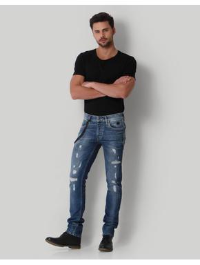 Blue Distressed Low Rise Slim Fit Jeans
