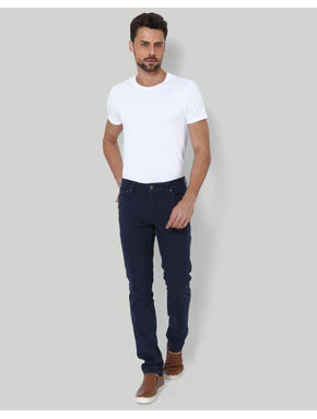 Dark Blue Mid Rise Slim Fit Chinos