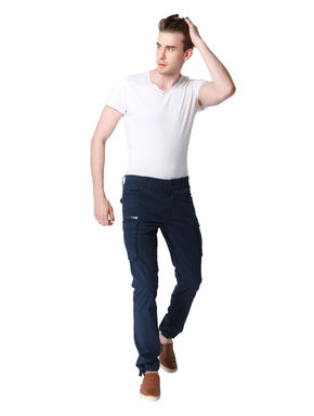 Blue Mid Rise Trouser