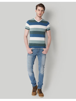 Blue Striped Colour Blocked V-Neck T-Shirt