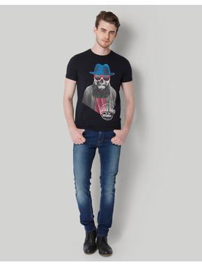 Blue Skull Printed Crew Neck T-Shirt