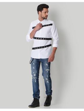White Text Print Shirt