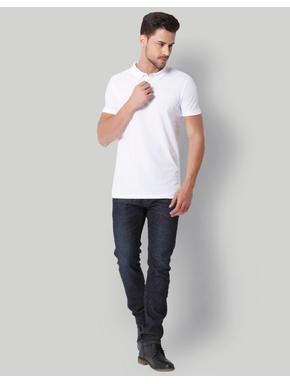 White Jacquard Polo Neck T-Shirt