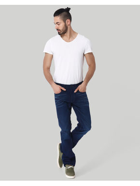 Dark Blue Mid Rise Regular Fit Jeans