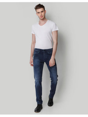 Dark Blue Mid Rise Comfort Fit Jeans