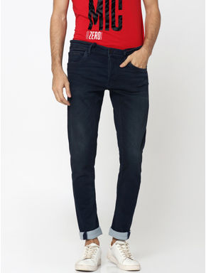 Dark Blue Drawstring Detail Glenn Slim Fit Jeans