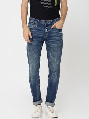 Dark Blue Mildly Distressed Tim Slim Fit Jeans
