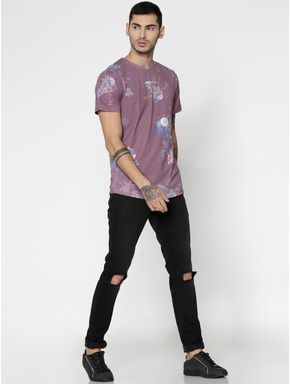 Red Floral Print Slim Fit Crew Neck T-Shirt