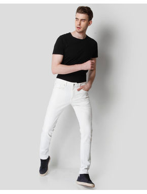 White Low Rise Skinny Fit Jeans