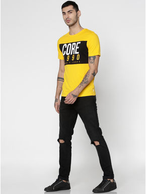 Yellow Colour Blocked Text Print Slim Fit Crew Neck T-Shirt