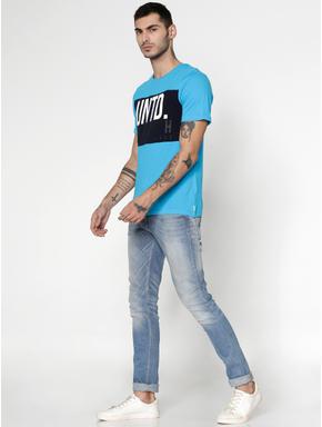 Blue Colour Blocked Text Print Slim Fit Crew Neck T-Shirt