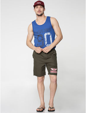 Blue Text and Numeral Print Vest