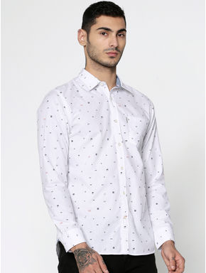 White All Over Printed Slim Fit Full Sleeves Shirt