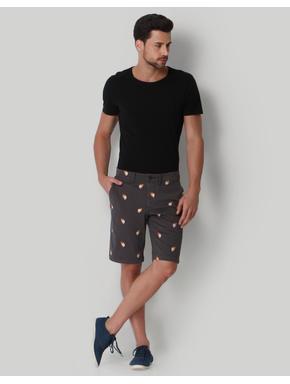 Grey Skull Print Regular Fit Shorts