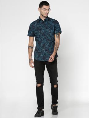Blue All Over Leaf Print Slim Fit Short Sleeves Shirt