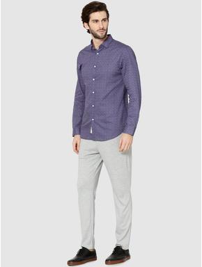 Blue All Over Print Full Sleeves Dobby Shirt